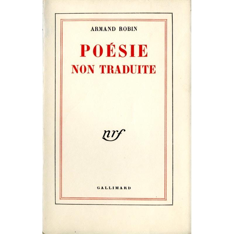 couverture Armand Robin, Poésie non traduite