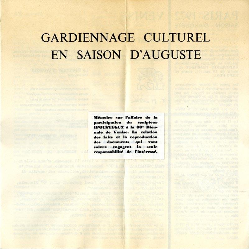 couverture Ipoustéguy, Gardiennage culturel en saison d'Auguste