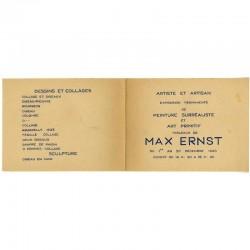 """recto ouvert du carton d'invitation pour l'exposition Max Ernst, galerie """"Artiste et Artisan"""" de Simone Collinet"""