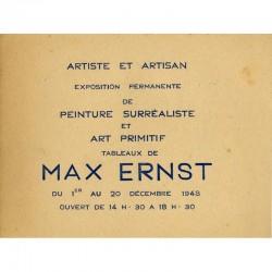 """recto du carton d'invitation pour l'exposition Max Ernst, galerie """"Artiste et Artisan"""" de Simone Collinet"""