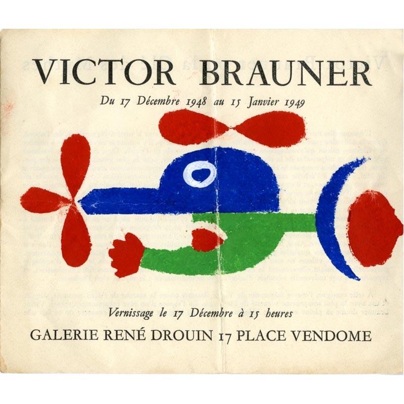 couverture du carton d'invitation dépliant de l'exposition Victor Brauner, galerie René Drouin