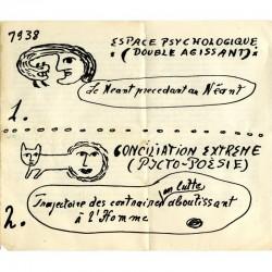 détail du carton d'invitation dépliant de l'exposition Victor Brauner, galerie René Drouin