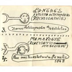 dessin du carton d'invitation dépliant de l'exposition Victor Brauner, galerie René Drouin