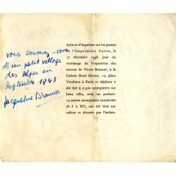 achevé d'imprimer du carton d'invitation dépliant de l'exposition Victor Brauner, galerie René Drouin