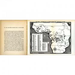 """Carte dépliante dans le  livre d'Henri Lavachery """"Statuaires de l'Afrique noire"""""""