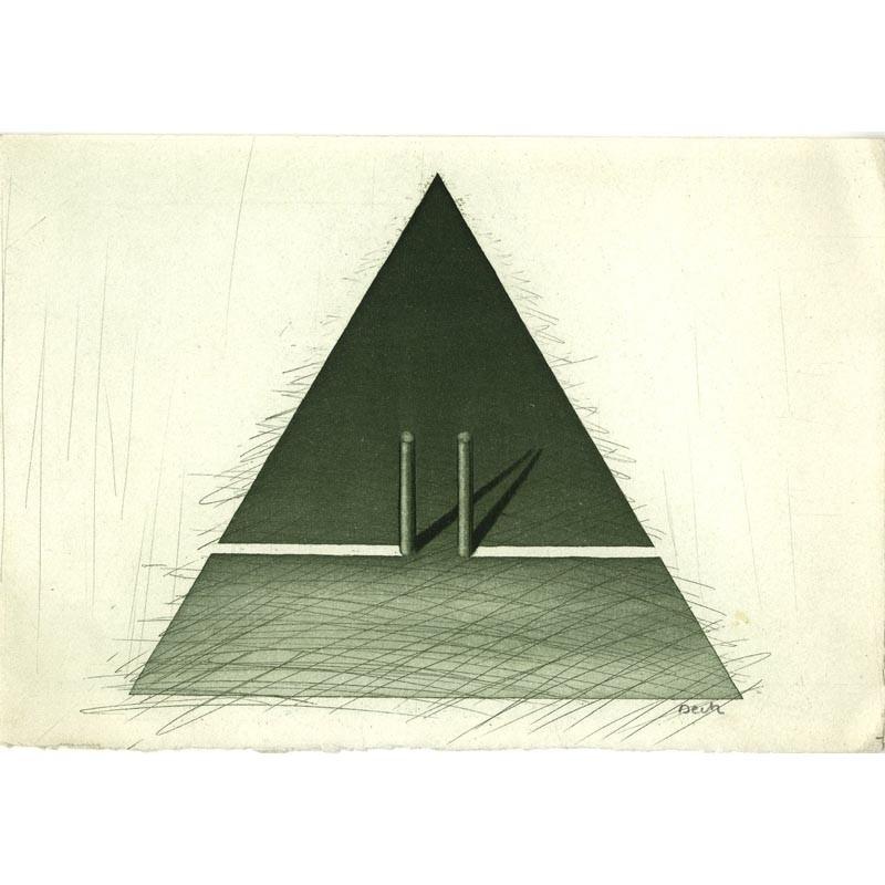 Gravure originale de François Deck pour la carte de vœux de l'atelier Lacourière et Frélaut