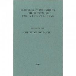"""couverture du livre de Christian Boltanski """"20 règles et techniques utilisées en 1972 par un enfant de 9 ans"""""""