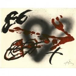 Lithographie d'Antoine Tapies pour une carte de voeux de la galerie Maeght Lelong