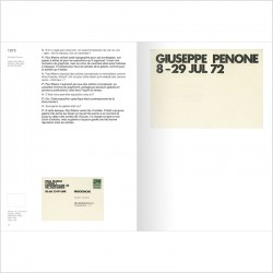 Une double page du catalogue raisonné des cartons d'invitation de Giuseppe Penone
