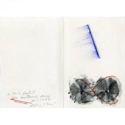 Carte de vœux d'Esther Hess, frottage au crayon, encre violette, pastel rouge