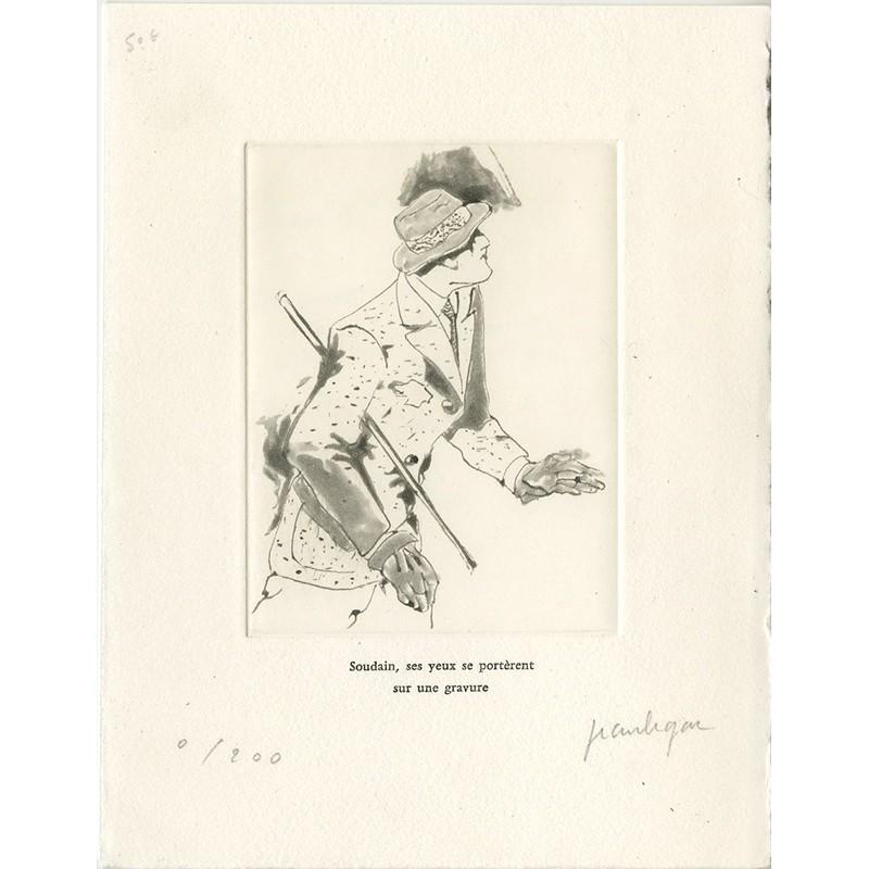 Aquatinte de Jean Le Gac pour une carte de voeux adressée à Anne Dagbert