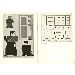 double page d'illustrations d'œuvres présentées lors de l'exposition de Bart Van der Leck, au Stedelijk Museum