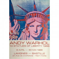 "Affiche originale d'Andy Warhol ""10 STATUES OF LIBERTY, 1986"""