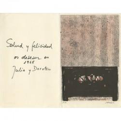 Carte de vœux en lithographie pour l'année 1968 de Julia et Doroteo Arnaiz à Raoul Jean Moulin