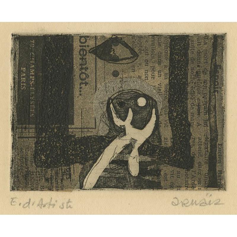 gravure sur collage de papier journal de Doroteo Arnaiz