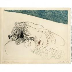 Gravure au burin signée de Jean Clerté, 1965