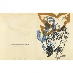 Carte de vœux Jacques Douin pour l'année 1964, gravure en 3 couleurs signée au crayon