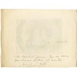 Vœux de 1977 de Gérard Gosselin, au dos de l'épreuve d'artiste III/V d'une gravure
