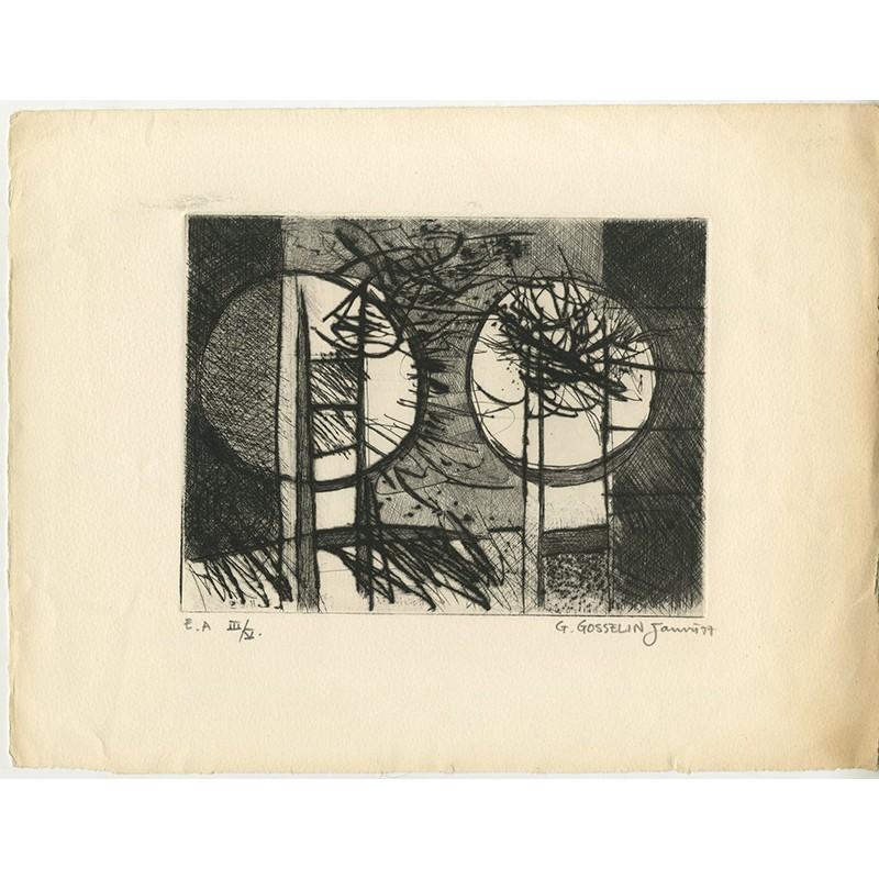 Epreuve d'artiste d'une gravure de Gérard Gosselin, 1977
