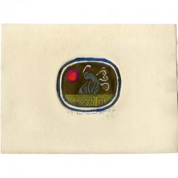 Eau forte originale avec gaufrage, colorée à la main, de José Ortega