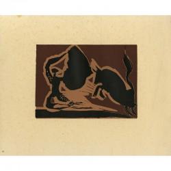 Linogravure sur vélin d'après Pablo Picasso