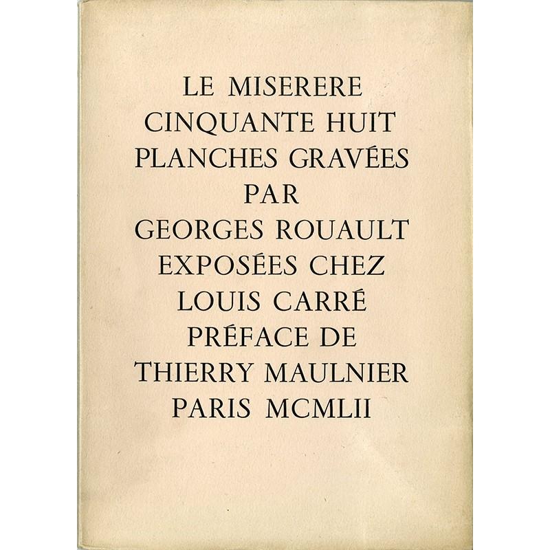 """Catalogue Georges Rouault """"Le Miserere"""" galerie Louis Carré, 1952"""