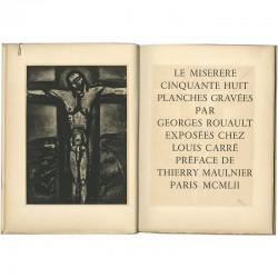 """Page de titre du catalogue Rouault, et l'une des 58 planches gravées du """"Miserere"""""""