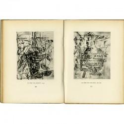 Double page en noir et blanc dans le catalogue de la galerie Louis Carré consacré à Bazaine, Estève et Lapicque