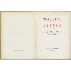 """Page de titre du catalogue pour l'exposition """"Bazaine, Estève et Lapicque"""" à la galerie Louis Carré"""