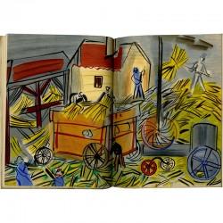 """Lithographie """"Le Dépiquage jaune"""" dans le catalogue Dufy,  à l'occasion de l'exposition à la galerie Louis Carré"""