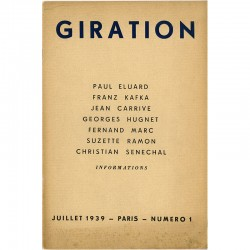 Couverture de la revue Giration, cahiers de poësie et d'information, dirigée par Boris Daew, 1939