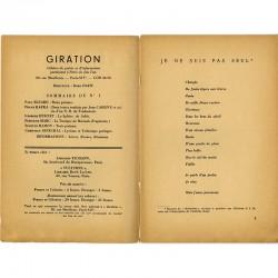 Sommaire et poème de Paul Éluard dans la revue Giration, 1939
