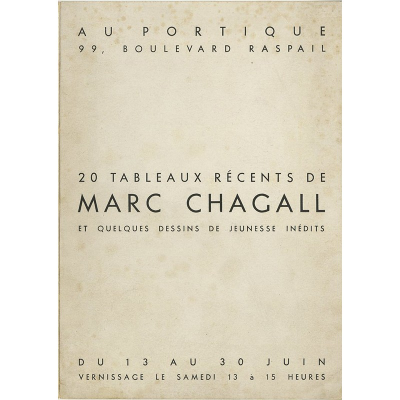Carton d'invitation de Marc Chagall, Galerie Le Portique