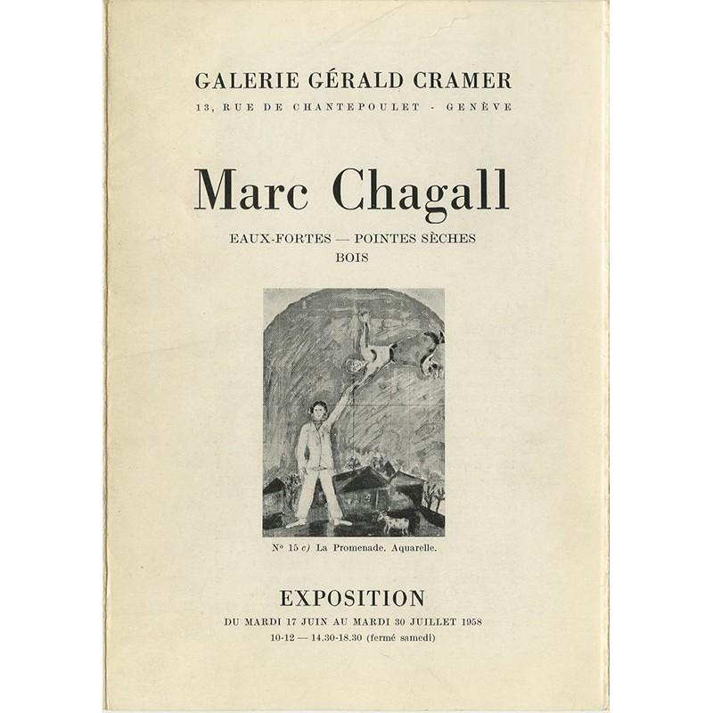 """catalogue de l'exposition de Marc Chagall """"Eaux-fortes, pointes sèches, bois"""", Gérald Cramer"""