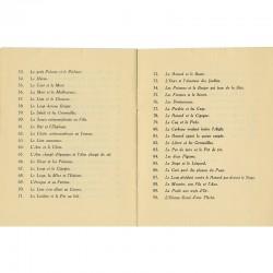 Nomenclature des fables de La Fontaine illustrées par Marc Chagall et exposées à la Galerie Bernheim-Jeune en 1930