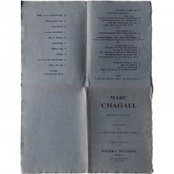 La feuille dépliée servant de support à l'exposition Marc Chagall, galerie Pierre Matisse, 1947