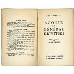 """page de titre de """"Agonie du Général Krivitski"""", André Frénaud, André Masson"""