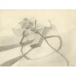 dessin à la mine de plomb de Michel Tyszblat, 1972