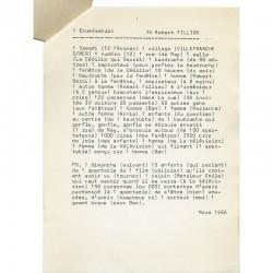 """""""Énumération"""", à propos d'un happening de Robert Filliou et Robert Bozzi à la Cédille qui sourit, 1966"""