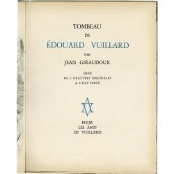 """""""Tombeau de Édouard Vuillard"""" texte de Jean Giraudoux orné de 5 gravures originales à l'eau forte"""