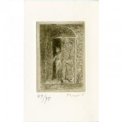 Tirage de tête, une des 3 gravures de Zoran Music, numérotées et signées, imprimées sur vélin d'Arches