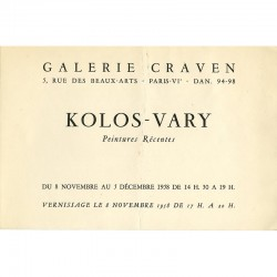 carton d'invitation au vernissage de l'exposition de Kolos-Vary à la galerie Craven