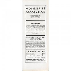 sommaire de la revue de Mobilier et Décoration de janvier 1935