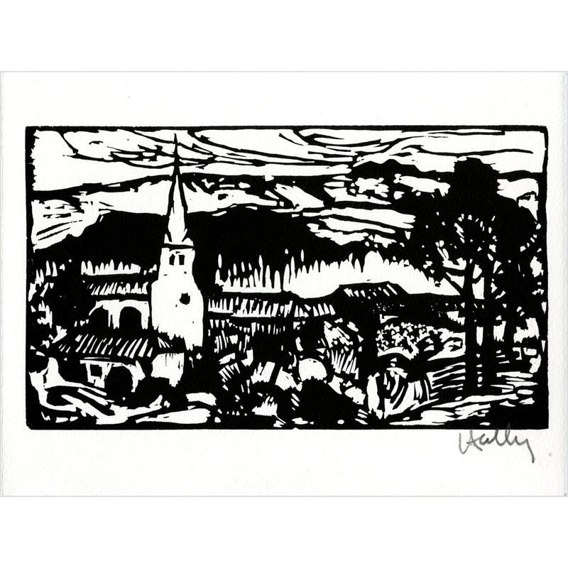 Bois gravé de Jacques Hallez, vœux  de la Société des Peintres-Graveurs