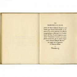 poème de Dante Gabriel Rossetti  tiré à 150 exemplaires numérotés, sur papier de la Papeterie A.Binda de Milan