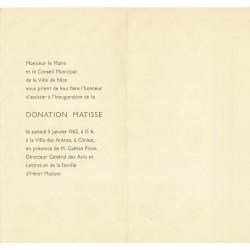verso du carton d'invitation de la donation Matisse, Nice, 1962