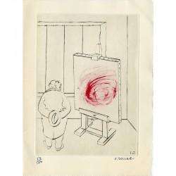 Gravure originale de Frédéric Zeller pour ses voeux de 1965