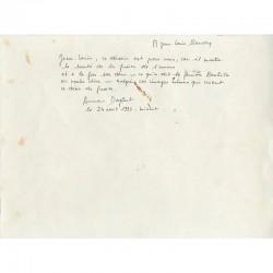 envoi d'Anne Dagbert à Jean-Louis Baudry au dos d'une gouache de Benhila Regraguia