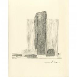 "lithographie originale de Takashi Nahara ""Water cutting stones"", 1986"