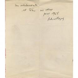 carte de vœux de Patrice Hugues en 1968 adressée à Raoul Jean Moulin